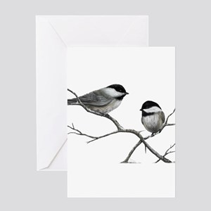 chickadee song bird Greeting Cards