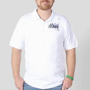 Iliana Artistic Name Design with Flower Golf Shirt
