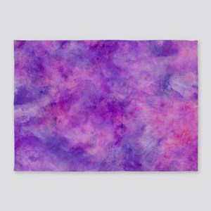 Juicey Purple Watercolor Texture 5'x7'Area Rug