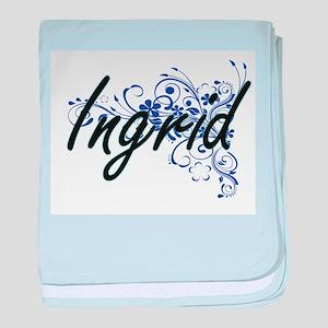 Ingrid Artistic Name Design with Flow baby blanket