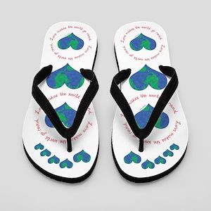 Love Makes The World Go Round Flip Flops