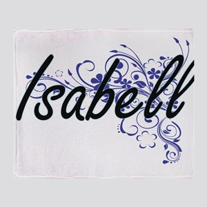 Isabell Artistic Name Design with Fl Throw Blanket
