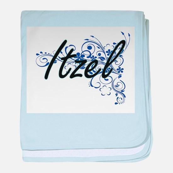 Itzel Artistic Name Design with Flowe baby blanket