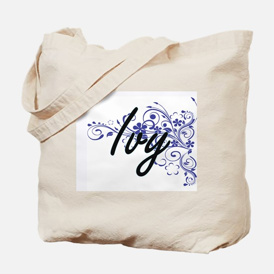 Ivy Artistic Name Design with Flowers Tote Bag