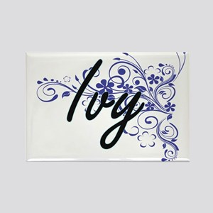 Ivy Artistic Name Design with Flowers Magnets