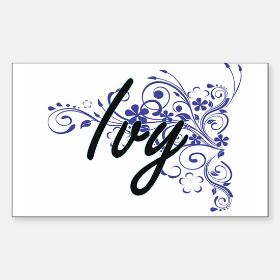 Ivy Artistic Name Design with Flowers Decal