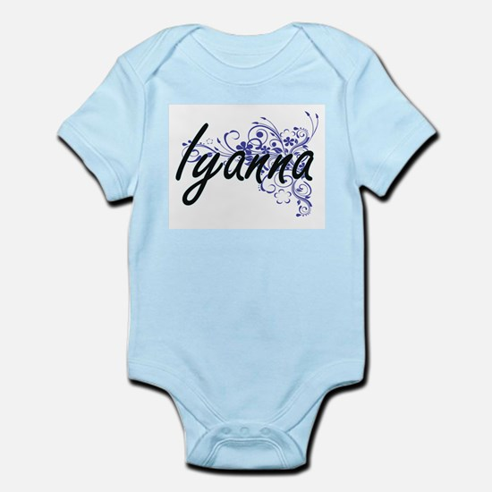 Iyanna Artistic Name Design with Flowers Body Suit