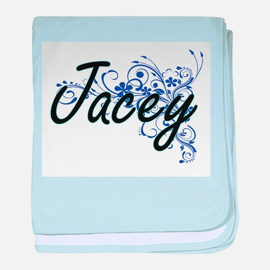 Jacey Artistic Name Design with Flowe baby blanket
