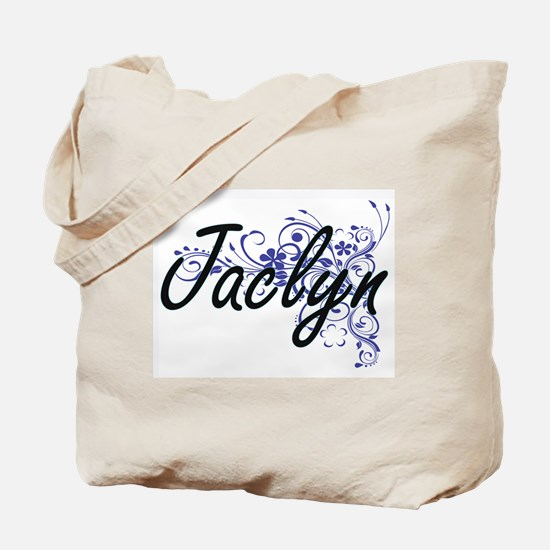 Jaclyn Artistic Name Design with Flowers Tote Bag