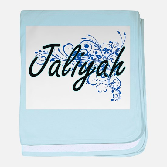 Jaliyah Artistic Name Design with Flo baby blanket