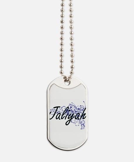 Jaliyah Artistic Name Design with Flowers Dog Tags
