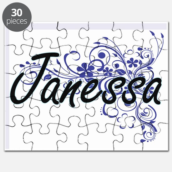 Janessa Artistic Name Design with Flowers Puzzle