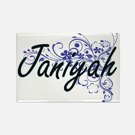 Janiyah Artistic Name Design with Flowers Magnets