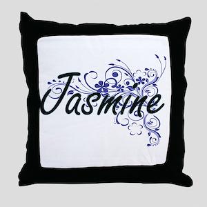Jasmine Artistic Name Design with Flo Throw Pillow