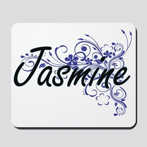Jasmine Artistic Name Design with Flower Mousepad