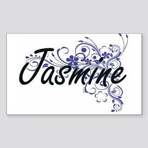 Jasmine Artistic Name Design with Flowers Sticker