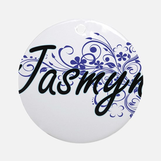 Jasmyn Artistic Name Design with Fl Round Ornament