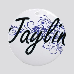 Jaylin Artistic Name Design with Fl Round Ornament
