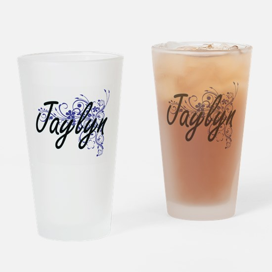 Jaylyn Artistic Name Design with Fl Drinking Glass