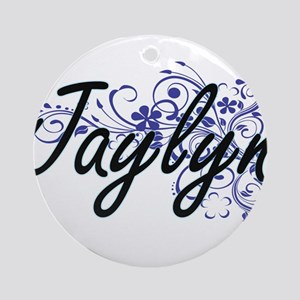 Jaylyn Artistic Name Design with Fl Round Ornament