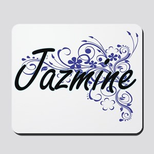 Jazmine Artistic Name Design with Flower Mousepad