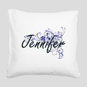 Jennifer Artistic Name Design Square Canvas Pillow
