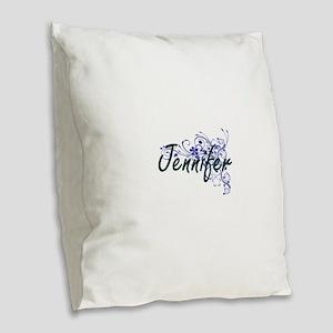 Jennifer Artistic Name Design Burlap Throw Pillow