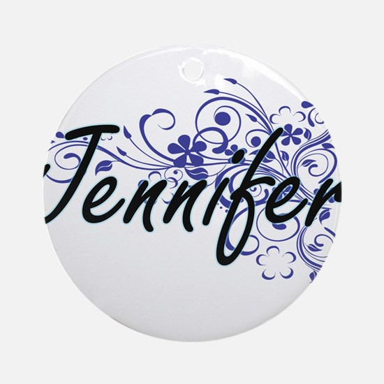 Jennifer Artistic Name Design with Round Ornament