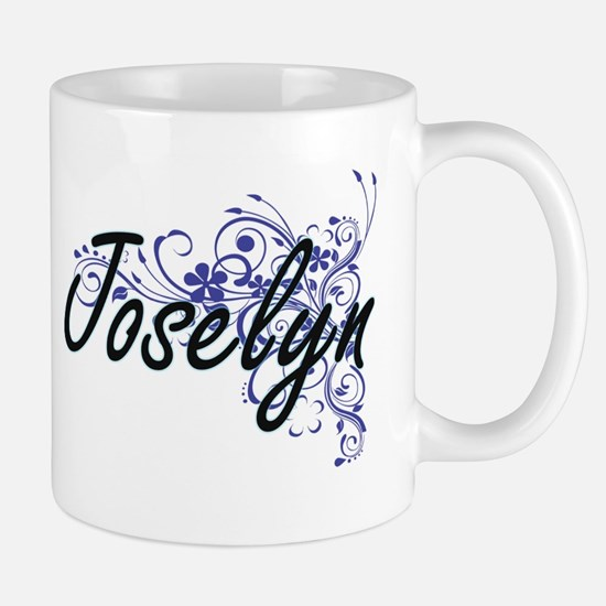 Joselyn Artistic Name Design with Flowers Mugs