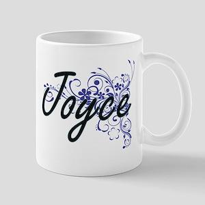 Joyce Artistic Name Design with Flowers Mugs