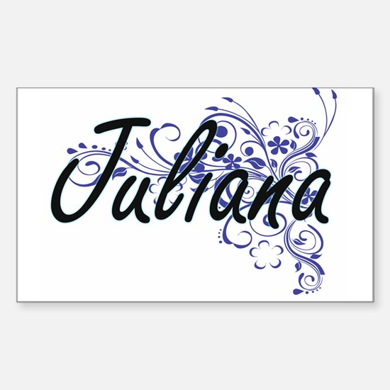Juliana Artistic Name Design with Flowers Decal