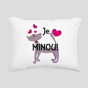 Je t'aime minou! Rectangular Canvas Pillow