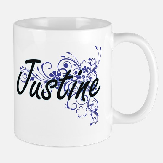 Justine Artistic Name Design with Flowers Mugs