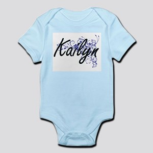 Kailyn Artistic Name Design with Flowers Body Suit