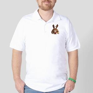 Christmas Reindeer Bulldog Golf Shirt