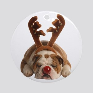 Christmas Reindeer Bulldog Round Ornament