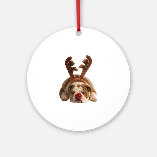 Christmas Reindeer Bulldog Round Ornament