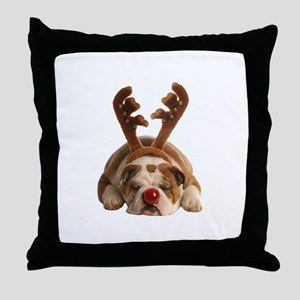 Christmas Reindeer Bulldog Throw Pillow