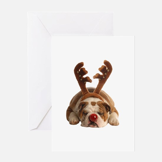 Christmas Reindeer Bulldog Greeting Cards