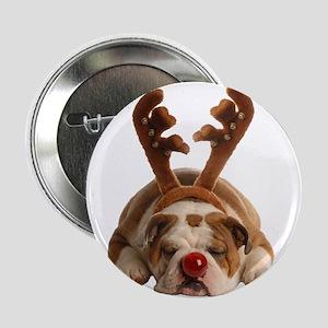 "Christmas Reindeer Bulldog 2.25"" Button"