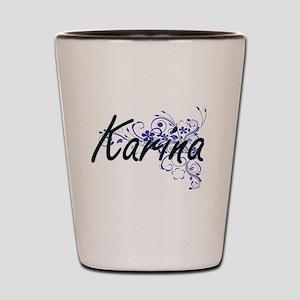 Karina Artistic Name Design with Flower Shot Glass