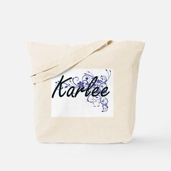 Karlee Artistic Name Design with Flowers Tote Bag