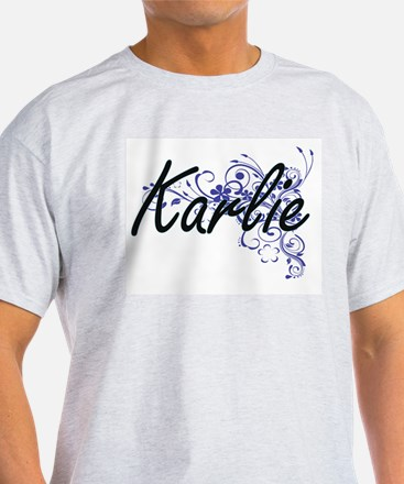 Karlie Artistic Name Design with Flowers T-Shirt