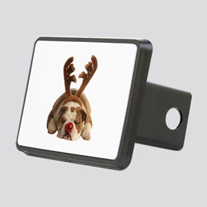 Christmas Reindeer Bulldog Rectangular Hitch Cover