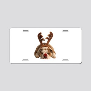 Christmas Reindeer Bulldog Aluminum License Plate