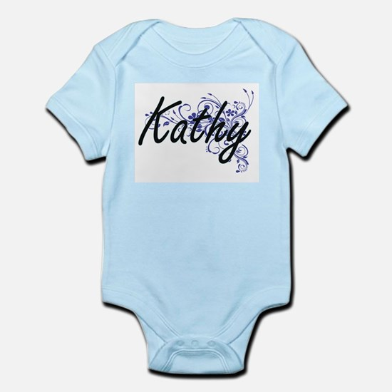 Kathy Artistic Name Design with Flowers Body Suit