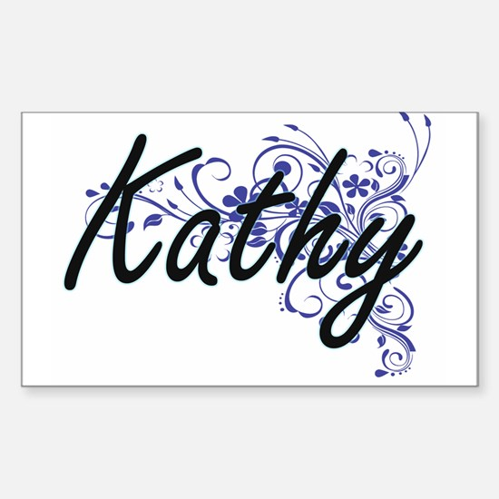 Kathy Artistic Name Design with Flowers Decal