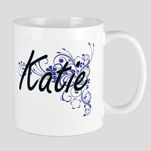 Katie Artistic Name Design with Flowers Mugs