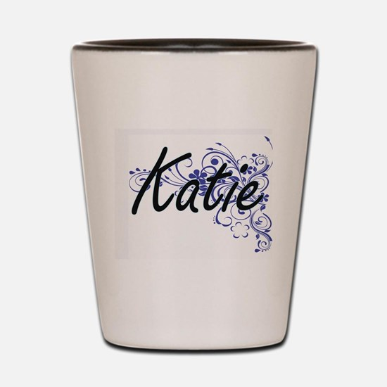 Katie Artistic Name Design with Flowers Shot Glass