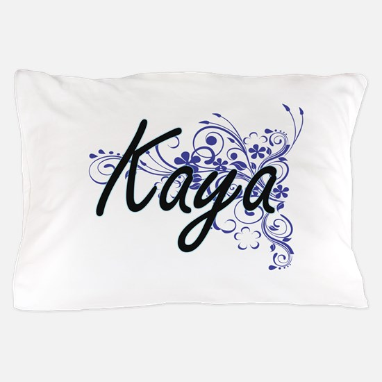 Kaya Artistic Name Design with Flowers Pillow Case